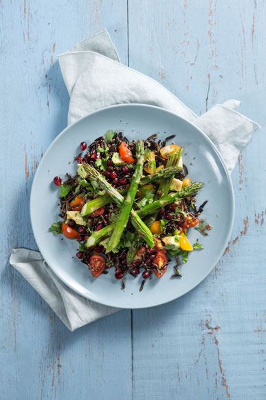Wild Rice with Grilled Asparagus