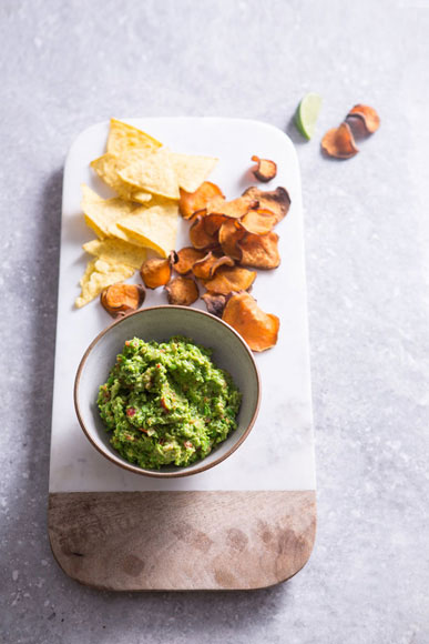 Broad Bean Puree with Sweet Potato Chips