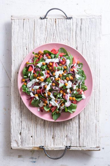 Watermelon, Crispy Harissa Baked Chickpea Salad