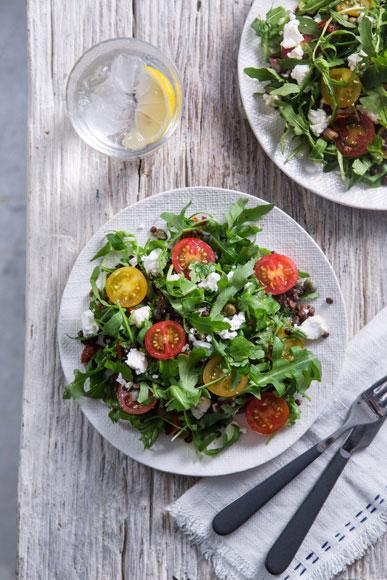 Puy Lentil, Tomato, Caper, Goats cheese & Rocket Salad