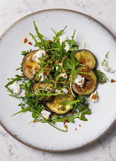 Aubergine and Rocket