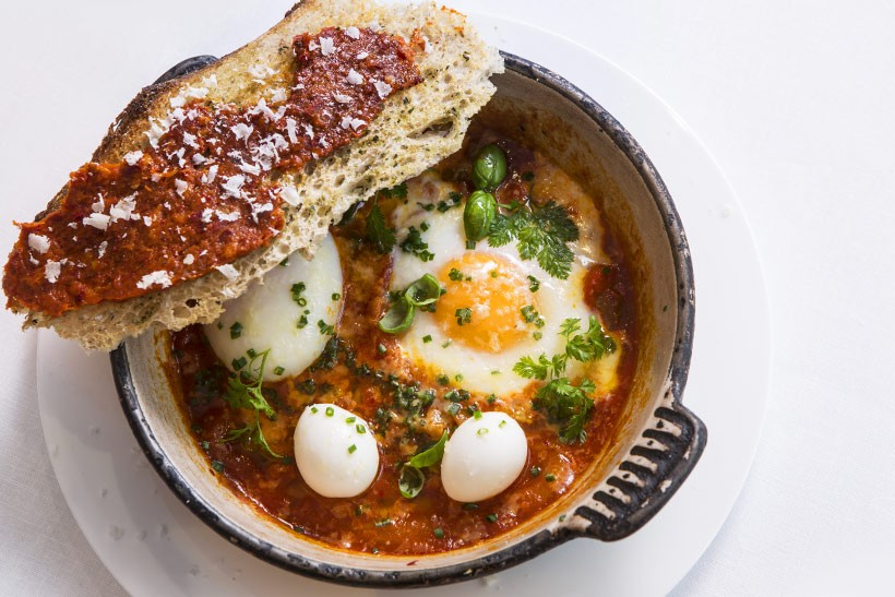 Baked-Eggs-and-Nduja-sauce-with-Crostoni