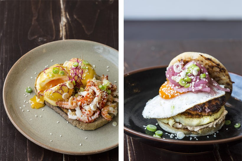Lamb-Burger-and-Poached-Egg-&-Crayfish